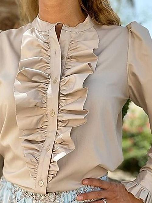 Anne ruffle skjorte Sand