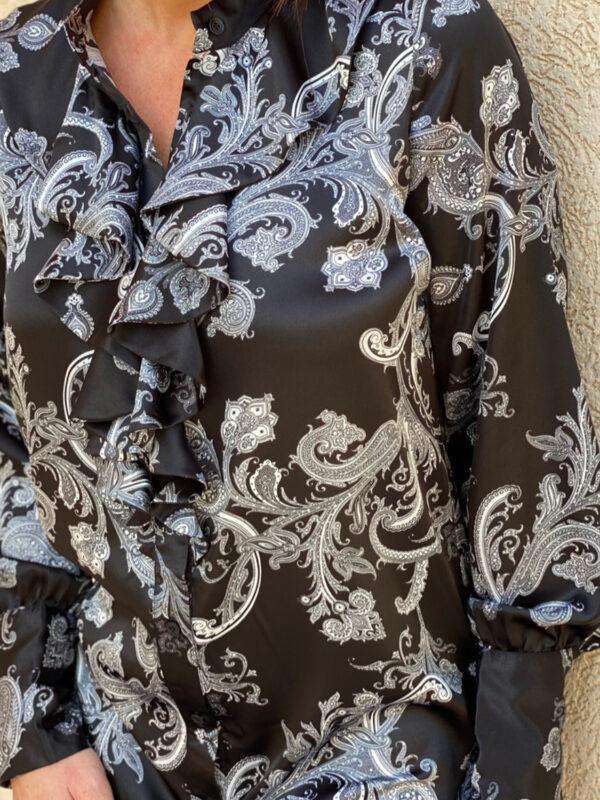 The Princess Shirt Dress Black Paisley