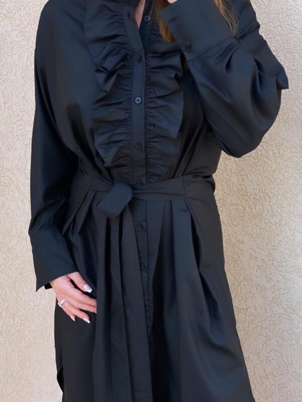 The Queen Ruffle Dress Noir